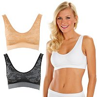 Comfortisse[ Perfect Fit Set of 3 Double Layer Comfort Bras w/ Modesty Pads