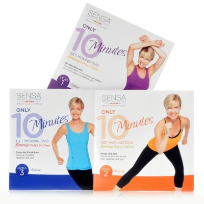 "000-728 - SENSA® Set of Three ""Only 10 Minutes: Get Moving"" DVDs w/ Petra Kolber"