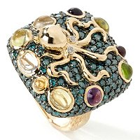 GT 14K YG RING MULTI GEM OCTOPUS & BLUE DIA