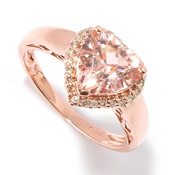 100-904 - Gem Treasures 14K Gold 2.04ctw Heart Shaped Pink Morganite & Diamond Ring
