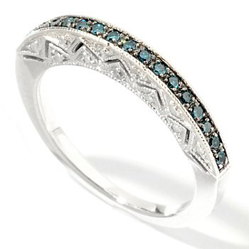 101-145 - Diamond Treasures Sterling Silver 0.16ctw Diamond Flat-Sided Stack Ring