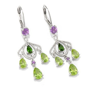 101-226 - NYC II 3.29ctw Peridot, Chrome Diopside, & Amethyst Earrings
