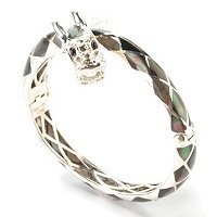 FEM - SS BANGLE BLACK MOP DRAGON HINGED