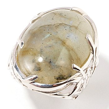 103-952 - Gem Insider Sterling Silver 24 x 18mm Oval Labradorite Bold Ring