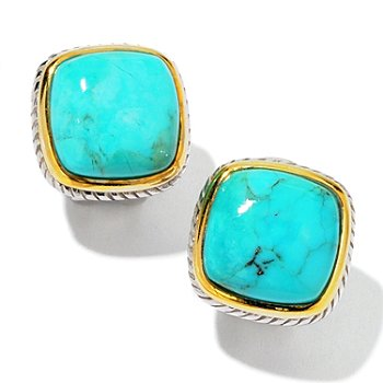 103-955 - Gem Insider Sterling Silver Turquoise Cushion Cut Earrings