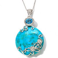 SS PENDANT CIRCLE TURQUOISE WITH BLUE TOPAZ BAIL