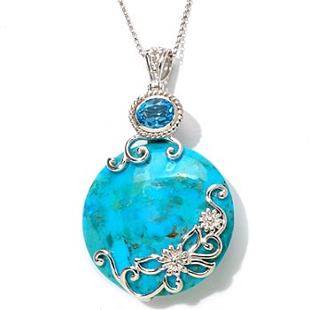 104-065 - Gem Insider Sterling Silver 10 x 8mm Stabilized Turquoise & Swiss Blue Topaz Pendant