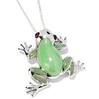 SS FROG PEND WITH INLAY GREEN JADE