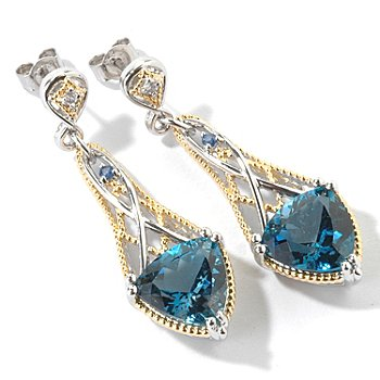107-101 - Gems en Vogue II 1.75'' 11.38ctw London Blue Topaz Trillon Drop Earrings
