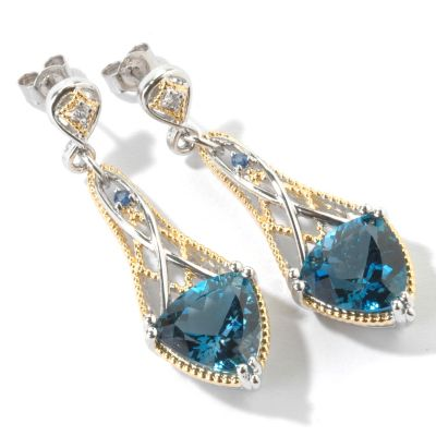 "107-101 - Gems en Vogue II 1.75"" 11.38ctw London Blue Topaz Trillon Drop Earrings"