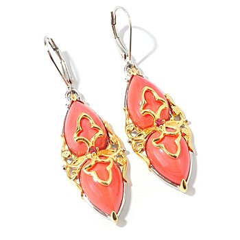 107-443 - Gems en Vogue II Pear-Shaped Bamboo Coral Marquise Drop Earrings