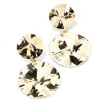 14K YG HAMMERED DOUBLE DISC EARRINGS