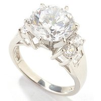B-SS/PLATINUM ROUND CENTER SIMULATED DIAMOND RING