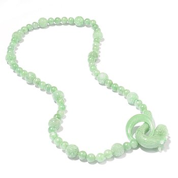 111-195 - 24'' Hand Carved Opulent Jade Animal Necklace w/ Hook Clasp