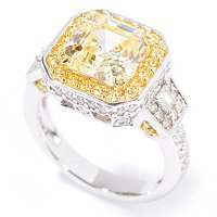FA SS/PLAT LARGE YELLOW ASSCHER CUT RING