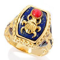 SS/PALL/18KGP RING EGYPTIAN SCARAB & PHAROH LAPIS W/ RED JADE & BLUE SAPH