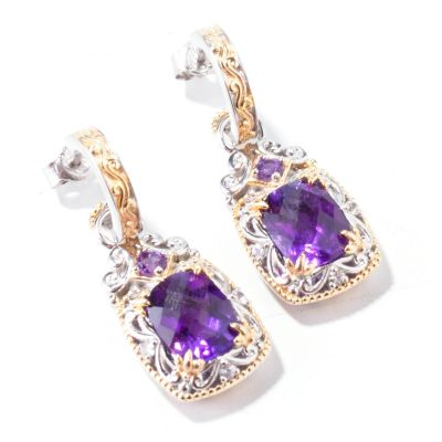 112-368 - Gems en Vogue II Checkerboard-Cut Cushion Gemstone Drop Earrings