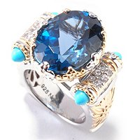 SS/PALL/18KGP RING OVAL LONDON BLUE TOPAZ W/ TURQ CABS & SAPH