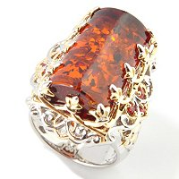 SS/PALL/18KGP RING SPECIAL-CUT AMBER W/ ORANGE SAPH