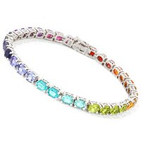 SS/P BRAC COLOR-GRADUATED MULTI-GEM RAINBOW TENNIS