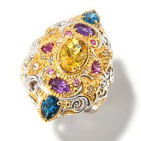 SS/PALL/18KV RING MOROCCAN-INSPIRED MULTI-GEMSTONE
