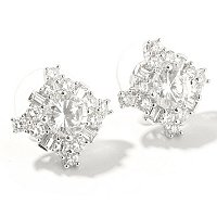 SB SS/PLAT SIMUALTED DIAMOND CLUSTER EARRINGS