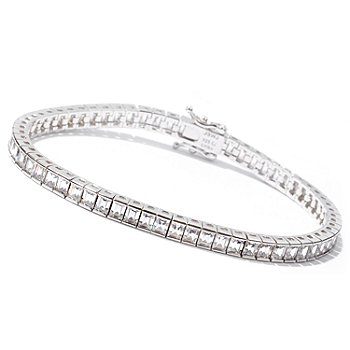 113-257 - Brilliante&reg; Platinum Embraced&trade; Baguette Tennis Bracelet<