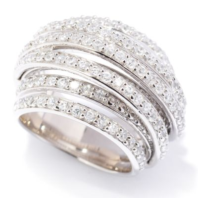 113-264 - Brilliante® Platinum Embraced™ 1.50ctw DEW Simulated Diamond Multi-Row Ring