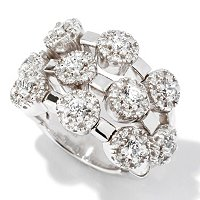 SB SS SIMULATED DIAMOND TEN STONE FLEX RING