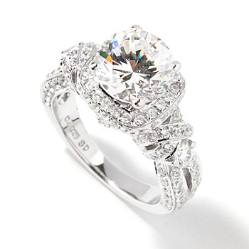 113-352 - Brilliante® 2.69 DEW Platinum Embraced™ Round Simulated Diamond Scalloped Shank Halo Ring