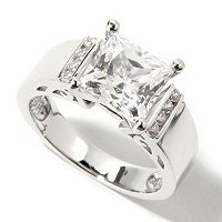 BLTA SS/PLAT PRINCESS CUT RING W/VERTICAL CHANNEL SET SIDES