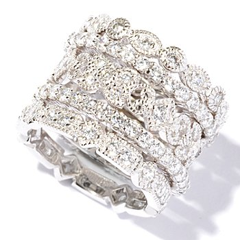 113-426 - Brilliante® Platinum Embraced® 2.68 DEW Set of Five Band Rings