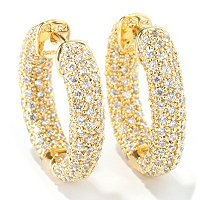 SB SS/ CHOICE OVAL PAVE HOOP EARRINGS