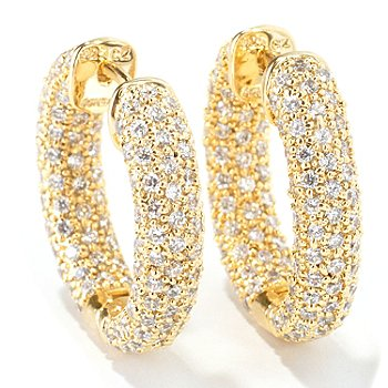 114-010 - Sonia Bitton for Brilliante® 5.00 DEW Oval Pave Hoop Earrings