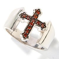 SS CROSS DIAMOND RING .15CT