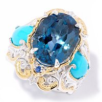 SS/PALL/18KV RING LONDON BLUE TOPAZ W/ SLEEPING BEAUTY TURQUOISE & BLUE SAPH