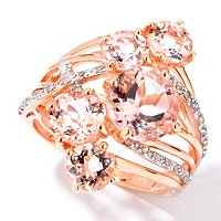 GT 14K RG MORGANITE MULTI STONE RING