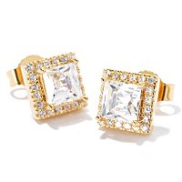TYCOON SS/PLAT SQUARE TYCOON CUT STUD EARRINGS W/ HALO BORDER