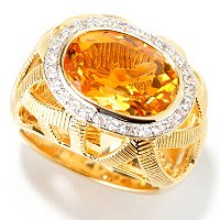 SS/18KV RING CITRINE & WHT SAPH DOMED BAND W/ CUTOUT DESIGN