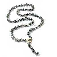 18K YG 8-13MM BAROQUE TAHITIAN PEARL DARE NECKLACE