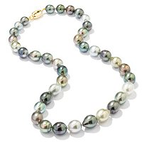 "18K YG 18"" 8-10MM MULTI-COLOR TAHITIAN PEARL NECKLACE"