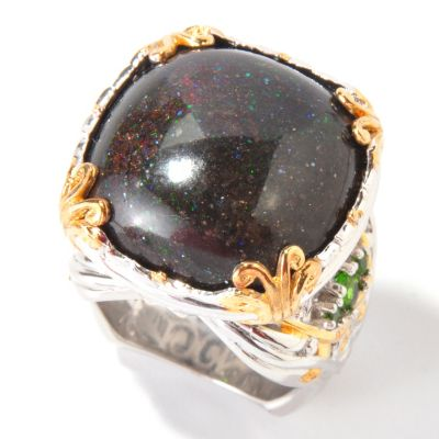 114-380 - Gems en Vogue II Cushion-Cut Black Pinfire Opal w/ Chrome Diopside Ring