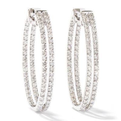114-440 - Beverly Hills Elegance 14K White Gold 2.00ctw Diamond Hoop Earrings