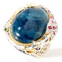 SS/PALL/18KGP RING OPAQUE APATITE & MULTI-GEMSTONE MERMAID