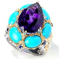 SS/PALL/18KGP RING PEAR-SHAPED AMETHYST & TURQUOISE CABS W/ BLUE SAPH