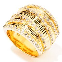 SB SS/GOLD EMBRACED TEXTURED CRISS CROSS RING