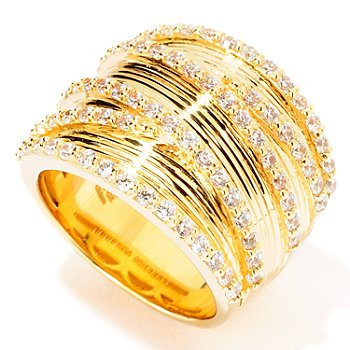 114-505 - Sonia Bitton For Brilliante Gold Embraced 1.17 DEW Criss Cross Ring
