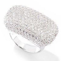 SB SS/PLAT RECTANGULAR PAVE RING