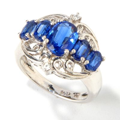 114-551 - Gem Insider Sterling Silver 3.01ctw Kyanite Ring w/White Zircon Accents