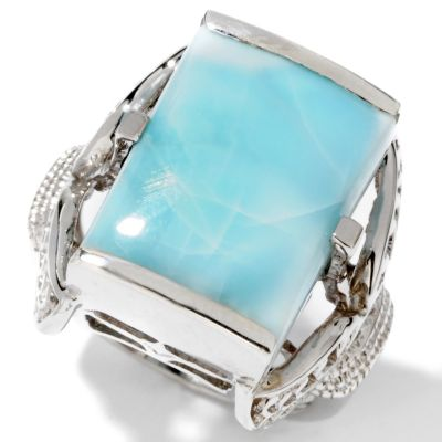 114-557 - Gem Insider Sterling Silver 16x12mm Rectangle Shaped Larimar Ring